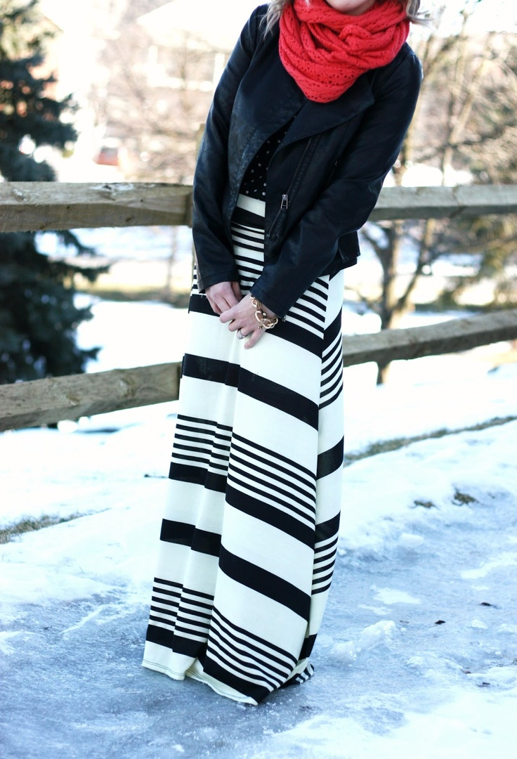 Black & white striped skirt, moto jacket, chunky knit red scarf