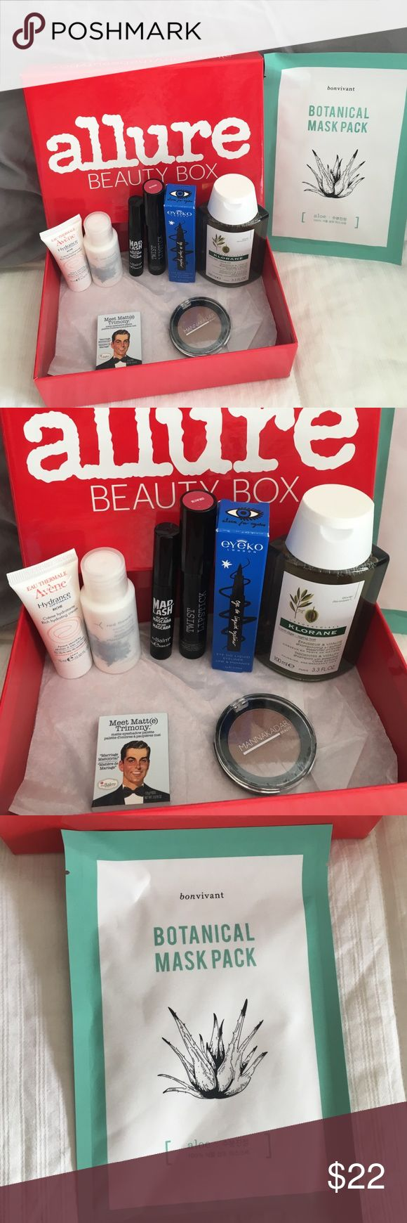 ALLURE 2016 November beauty box plus extras All brand new , comes with everything in my allure November 2016 beauty box plus 4 extras . 1 full size Klorane thickness and vitality shampoo with essential olive extract 3.3 fl.oz, also bontanical mask pack, eyeko London eye do liquid eyeliner,AVENE rich hydrating creme,Red Flower moisturizing body lotion in Icelandic moonflower,Mannakadar beauty blush/highlighter in Fantasy, The Balm matte eyeshadow,the balm mad lash black mascara,full size…