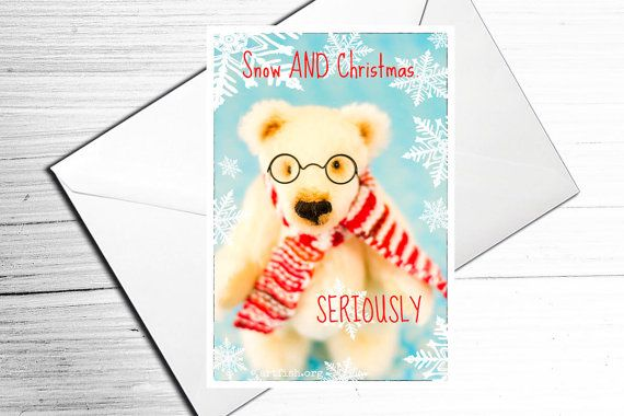 Christmas Card  A6 Grumpy Polar Bear Greeting by TeacupTeddyBears