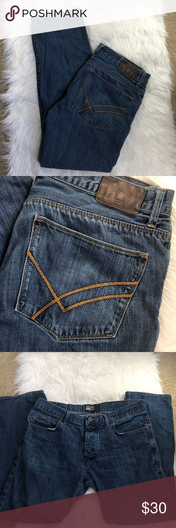 Men's William Rast 36x32 Straight Leg Jeans William Rast 36x32 Straight Leg Blue Jeans. Excellent condition. Button up fly. No flaws. Bundle to save! :) William Rast Jeans Straight