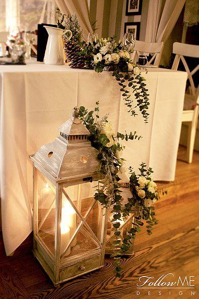Kwiatowa dekoracja lampionów / Zimowe dekoracje ślubne od FollowMe DESIGN / Lantern Flower Decoration / Winter Wedding Decorations & Details by FollowMe DESIGN