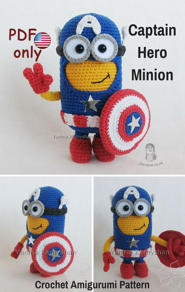 Captain Hero Minion Is A Crocheted Amigurumi Doll That Is Inspired