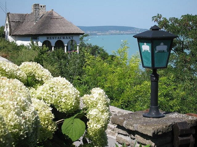Tihany Peninsula Restaurants overlooking Lake Balaton. Hungary
