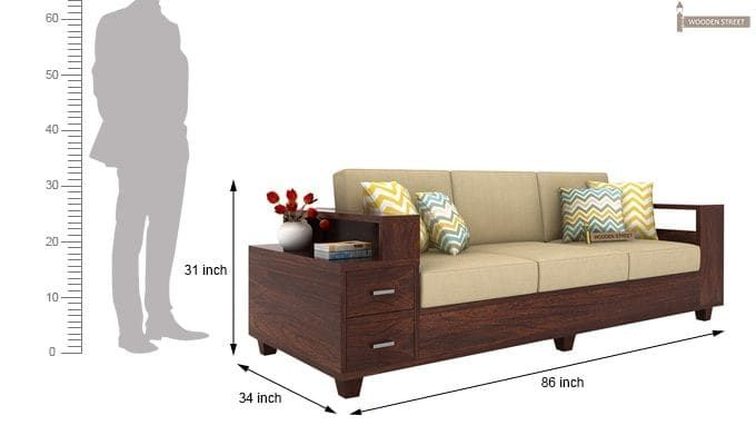 Solace Wooden Sofa 3 2 Walnut Finish 8 With Images Wooden Sofa Rustic Sofa Sofa Design