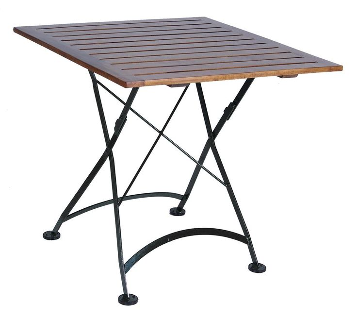 """Buy European Cafe Folding Table with 32"""" x 32"""" Square African Teak Wood Slat Top online with free shipping from thegardengates.com $933.60"""
