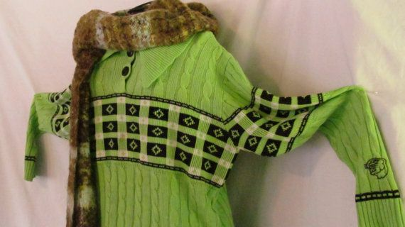 Vintage Arctic Cat Sweater Neon Green Snowmobile Clothing    $42.00