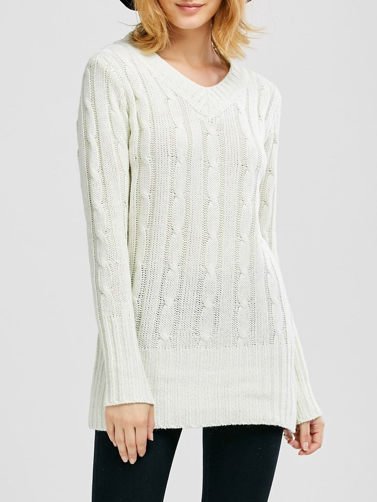 V Neck Cable Knit JUmper - WHITE ONE SIZE