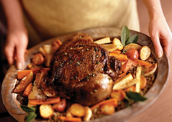 Preheat oven to 275°. Season with salt and pepper: Deer or pronghorn neck   Heat in large skillet or Dutch oven: 4 T. lard or vegetable oil Add neck roast and brown on all sides, about 20 minutes.   Remove roast to a plate. Add: 2 C. finely chopped onions ½ C. finely chopped celery ½ C. finely chopped carrots Cook vegetables, stirring occasionally, until they begin to color, about 5 minutes. Add: 1 C. beef stock or dry red wine Bring to boil. Add: 1 bay leaf ½ t. dried thyme