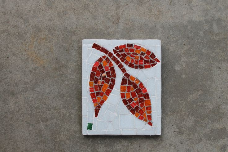 Red Mosaic Wall Decor : Red mosaic leaf garden outdoor wall art by