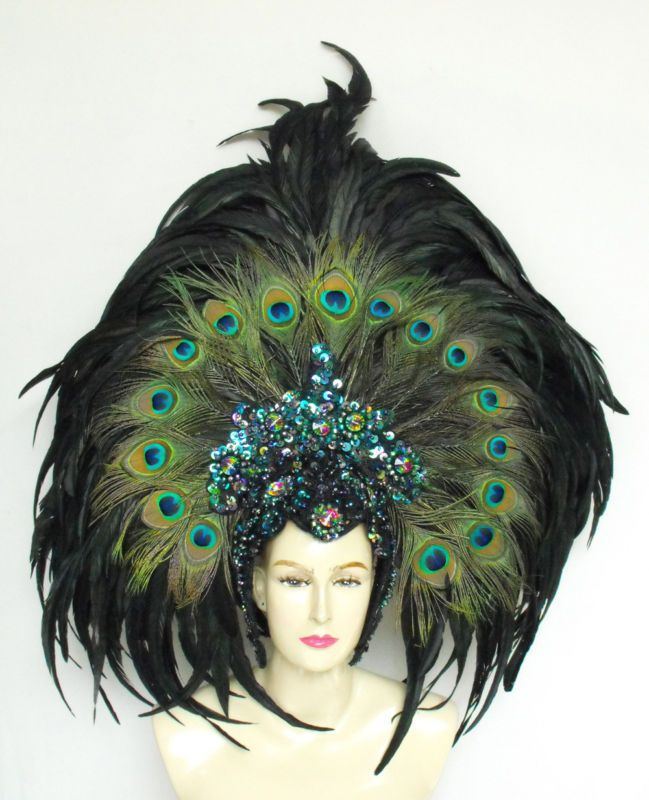EVIA Peacock Feather Cabaret Dancer Samba Headdress
