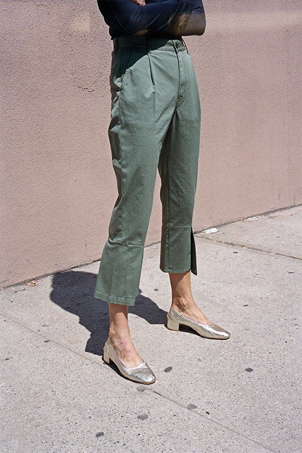 FLARED TROUSERS, ARMY GREEN