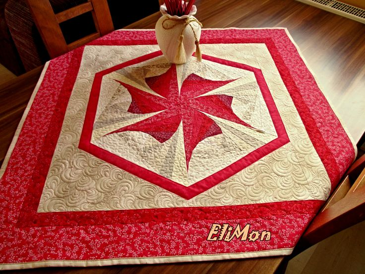 Red table -cloth, patchwork, quilt,