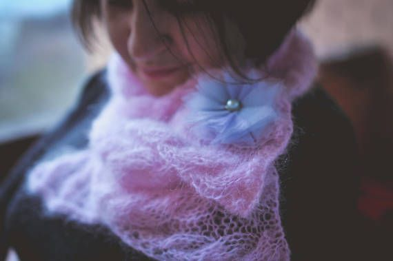 Women's knitted soft mohair scarf handmade work pink color