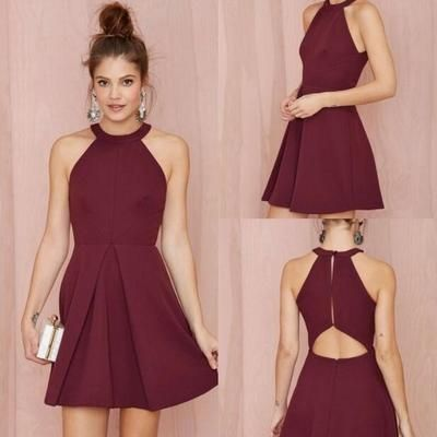 Boat neck sleeveless homecoming dress,burgundy short party dress,short homecoming dresses