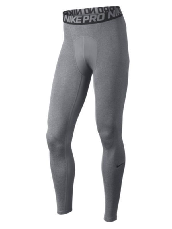 Nike Men Pro Cool Compression Tights Full Length Heather Gray Pants L  703098-091