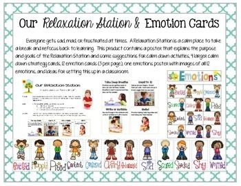 Everyone gets sad, mad, or frustrated at times.  A Relaxation Station is a calm place that is set up in the classroom to take a break and refocus back to learning.  This product contains a poster that explains the purpose and goals of the Relaxation Station and some suggestions for calm down activities, 4 larger calm down strategy cards (on 1 page), 12 emotion cards (3 per page), one emotions poster with images of all 12 emotions, and ideas for setting this up in a classroom. $3.00