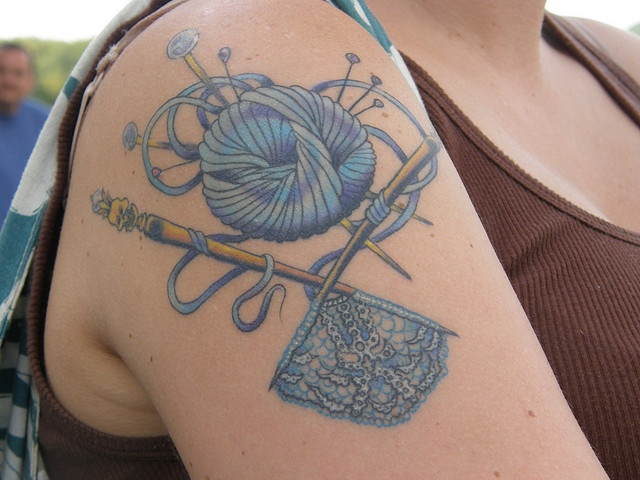 I like the idea of having something specific on the needles. go more flash/ dia de los muertos.   by mscheesecake, via Flickr