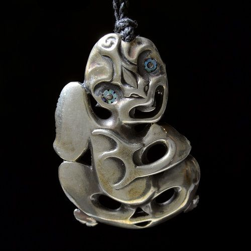 Detail photos: Hei Tiki • Stylized Figure Pendant by Lewis Tamihana Gardiner [NZ111150]