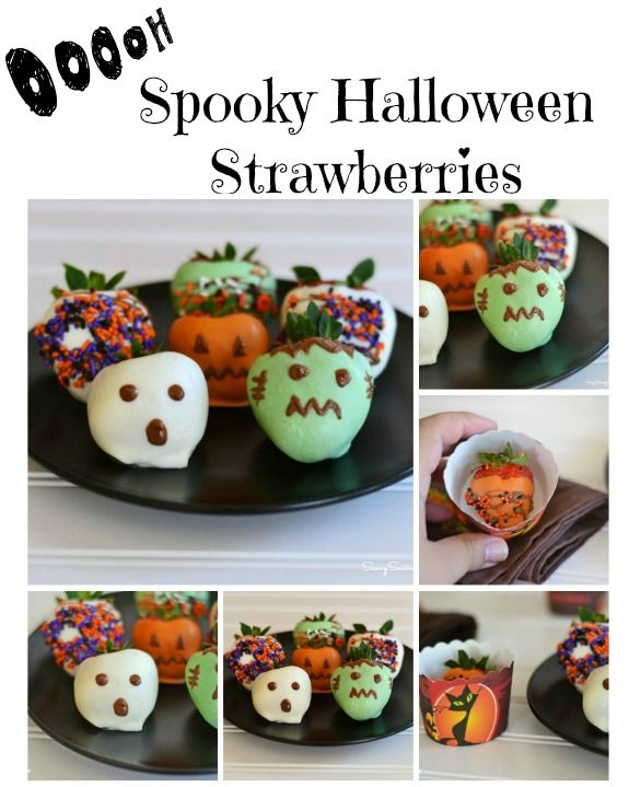 Chocolate Dipped Halloween Strawberries: Make a semi-healthy and fun halloween treat for your kids!