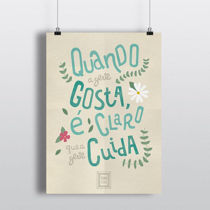 Cartaz tipográfico do blog Tipo Essa/Typographic poster from Tipo Essa blog. Sozinho - Caetano Veloso