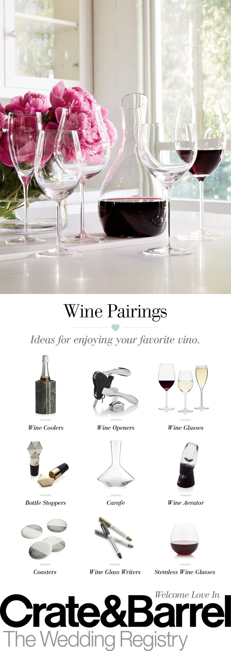 Think of your drinkware as the MVP of your registry. It should be sleek, be comfortable to hold, great to sip from and a breeze to wash. Make sure you have as many red and white wine glasses as you have dinnerware place settings, plus four more in case of accidents. Create a registry today.