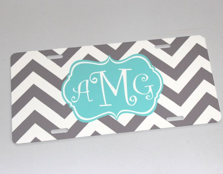 Monogram License Plate - Personalized License Plate - Customize your colors and design - Custom Front License Plate by happythoughtsgifts on Etsy https://www.etsy.com/listing/200903426/monogram-license-plate-personalized