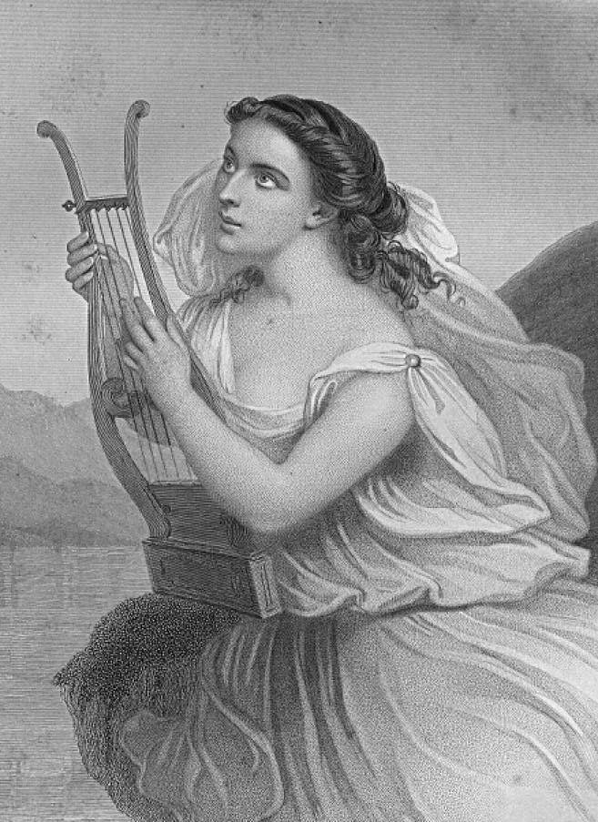 """Safo  - foi uma poetisa grega que viveu na cidade lésbia de Mitilene, ativo centro cultural no século VII a.C. Foi muito respeitada e apreciada durante a Antiguidade, sendo considerada """"a décima musa"""" por Platão."""