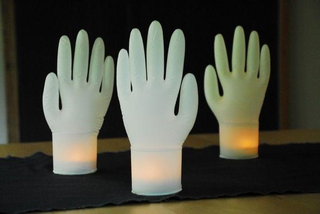 Inflated Glove Lights   31 Last-Minute Halloween Hacks