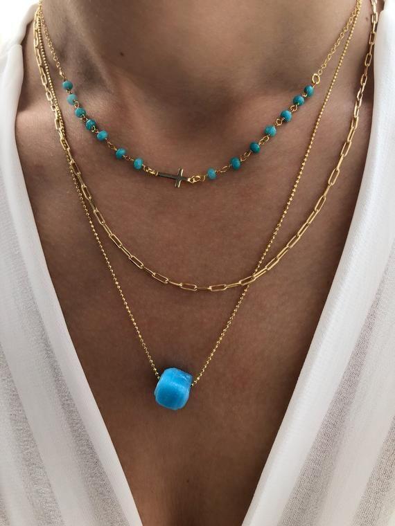 Turquiose Bar Necklace Boho Vintage Style Dainty Jewelry