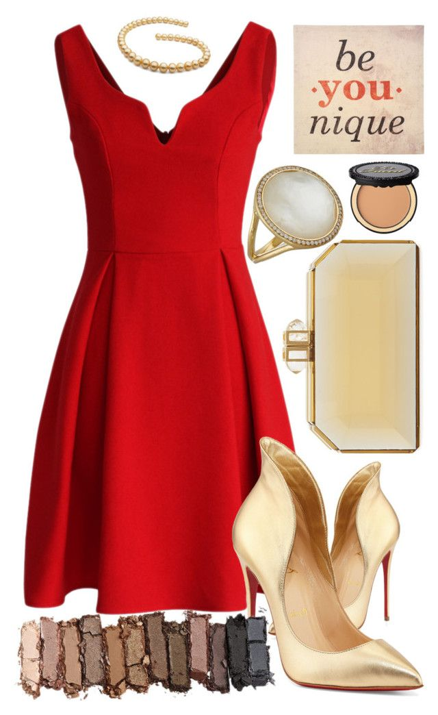 """""""When in doubt wear red. -Bill Blass"""" by rinapinxz ❤ liked on Polyvore featuring Chicwish, Christian Louboutin, Judith Leiber, Ippolita, Younique, Urban Decay and Too Faced Cosmetics"""