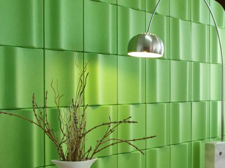 Entry wall EchoPanel wave tile in lime green. For more info on this product visit: http://www.roosintl.com/portfolio-item/kirei-echo-panel/
