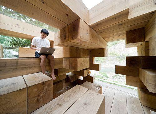 """Final Wooden House"" by Sou Fujimoto, 2008, in Kamamura village in the south of Kyushu."