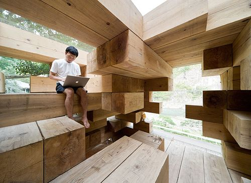 """Final Wooden House"" by Sou Fujimoto, 2008, in Kamamura village in the south of Kyushu."