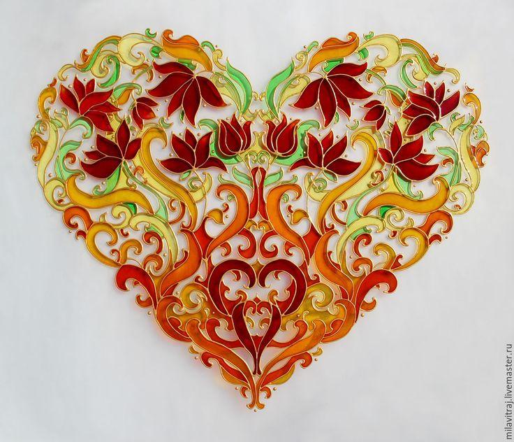 """Купить Витражная роспись """"Сердце"""" / цветы - стекло, стеклянная картина, картина на стекле, символизм"""
