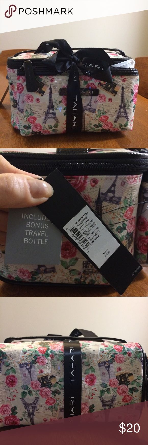 "NWT Tahari toiletry/cosmetic bag set Brand new, never opened. Large sized toiletry travel set. Comes with small cosmetic bag and bonus travel bottle. Cute Paris theme design with black accents.  Bag dimensions- large bag- L 9"", W 4.5"", H 5"".  Small bag- L 7.5"", H 4.25 "" Tahari Bags Cosmetic Bags & Cases"