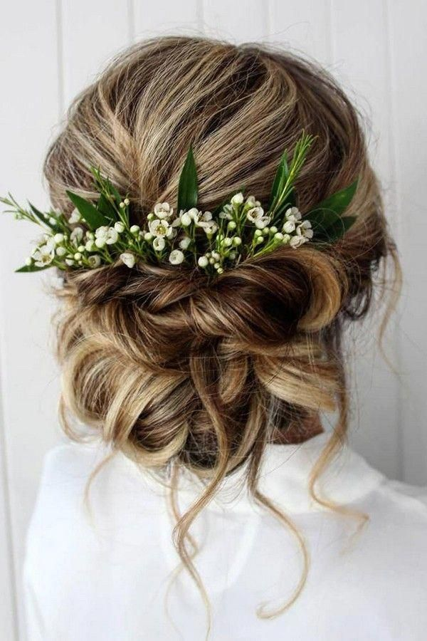 summer wedding hairstyles elegant swept updo with loose curls and white flowers greenery theupdogirl #Mascara