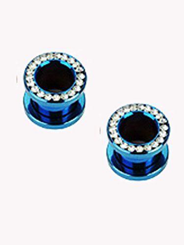 (4 Gauge) Blue Titanium IP Ear Plug - Rhinestone Screw On Flared Tunnel Plug