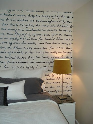 Another solution to the trashed walls in a rental scenario. Sometimes a wall won't take to papering or even paint. This looks like a wonderful idea; as the wall continues to, uh, undergo distressing, the writing will take on the appearance of aging in place. This is a much nicer, less perfect look than those vinyl wall decals that are hot right now.