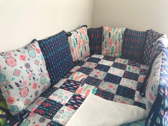 Crib Bedding Set Nursery Bedding Set 7pcs Feather Crib