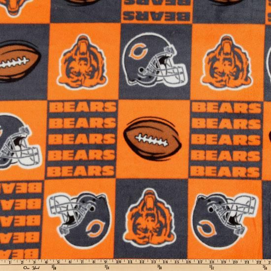 NFL Fleece Chicago Bears Squares Orange from @fabricdotcom  Cheer on the Bears, your favorite NFL team with this NFL fleece! With an anti-pill face this soft, warm and cozy fleece is perfect for throws, stadium blankets, seat cushions, hats, scarves, pillows, vests, pullovers and much more!