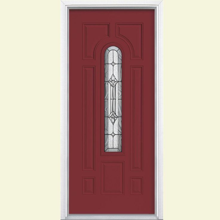 Masonite 36 in. x 80 in. Providence Center Arch Painted Steel Prehung Front Door with Brickmold-24833 - The Home Depot