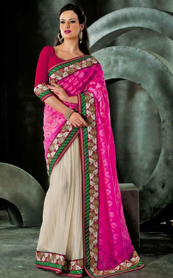 OFF WHITE & PINK NET LATEST SAREE - VAL 5317