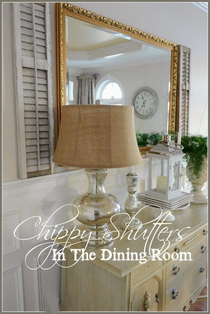 CHIPPY SHUTTERS IN THE DINING ROOM  great wainscoting too