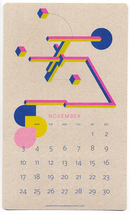Risograph Calendars designed by JP Kingandprinted by Paper Pusher Printworks.