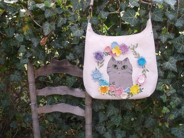 FREE SHIPPING Cat in the garden messenger bag freemotion embroidered and appliqued with crocheted flower by kiseri on Etsy