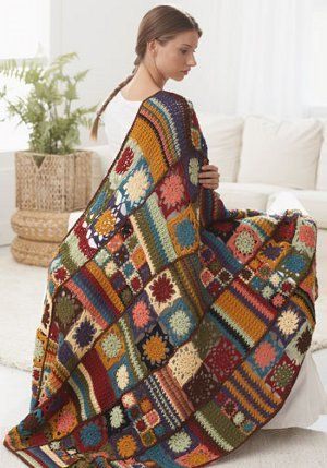 Ultimate Crochet Blanket - This crochet granny square afghan is full of different shapes and stitches to give a vintage vibe to any room