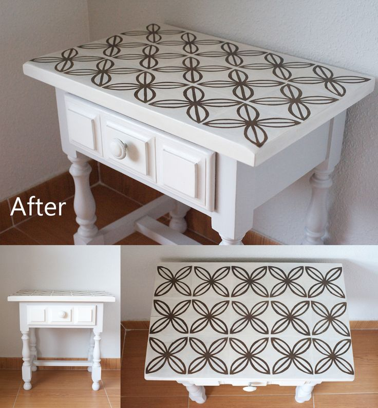 Stencilled side table after