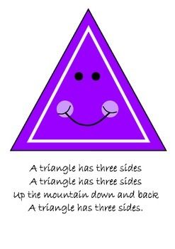 """Cute and colourful posters of 11 different 2D shapes.  All shapes are accompanied by a song for students to remember different features of each shape.The songs are sung to the tune of """"The Farmer in the Dell"""".I get my students to draw the shape in the air as they sing each song.2D shapes included are:* triangle* square* rectangle* circle* pentagon* hexagon* octagon* oval* rhombus* trapezium* kite"""