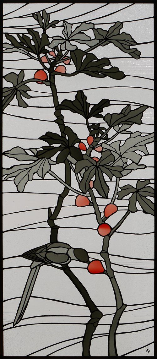 Bird eating fruit stained glass art