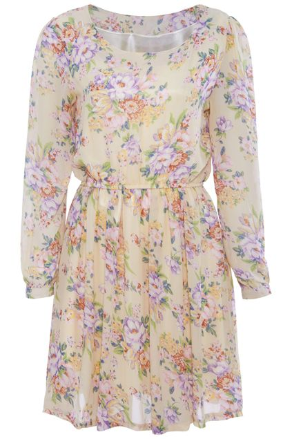 ROMWE | Floral Print Apricot Long-sleeved Dress, The Latest Street Fashion #RomwePartyDress